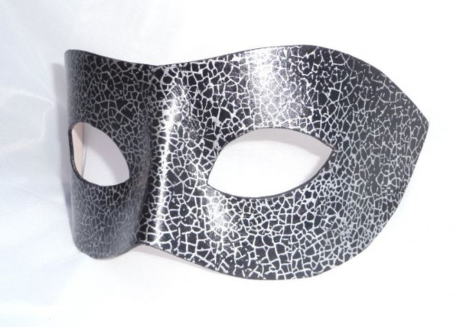 Genuine Handmade Unique Leather Mask  Black & Silver Crackle Mask(1)
